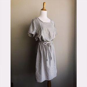 Grey + White Woven Cotton Drawstring Waist Dress